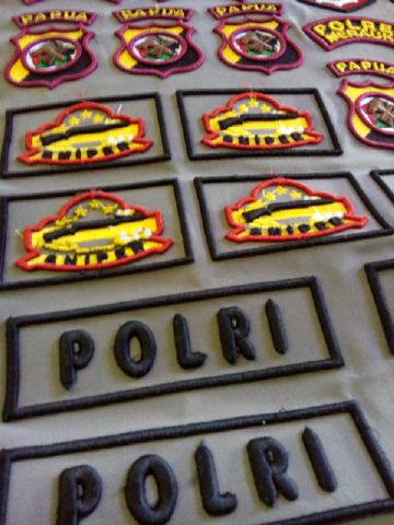Bordir name tag & Logo Polda